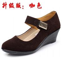 春秋老北京布鞋女鞋单鞋坡跟平底酒店工装高跟黑色工作鞋跳舞鞋女 咖啡色 1女坡跟