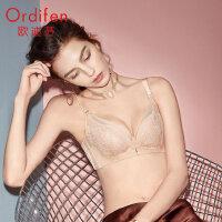 欧迪芬无钢圈文胸女上薄下厚小胸聚拢胸罩健康直立棉乳罩XB0519