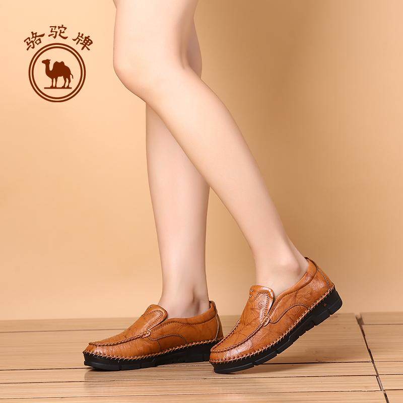 骆驼牌女鞋 新品套脚手工缝制鞋舒适轻盈耐磨女士四季单鞋