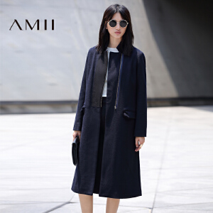 【品牌团 1件7折/2件5折】AMII[极简主义]冬新撞料拼接翻驳领拉链羊毛呢外套女11694232