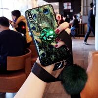 网红苹果x手机壳xr女款xs孔雀羽毛iphone xs max个性创意6防摔i6全包i7套ip