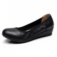 单鞋软底妈妈鞋中年女士大码女鞋中跟工作鞋圆头黑色鞋