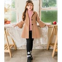 女童毛呢外套洋气喇叭袖中长款秋冬儿童呢子大衣