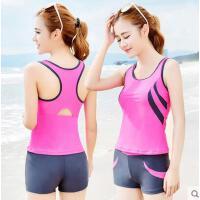 泳衣女生分体平角裤保守背心遮肚运动型纯色学生游泳衣泳装 可礼品卡支付