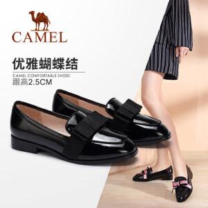 Camel/骆驼女鞋 2018春季新品 甜美蝴蝶结深口单鞋女 简约乐福鞋