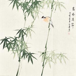 河南美术家协会会员许鲁四尺斗方花鸟画gh04871