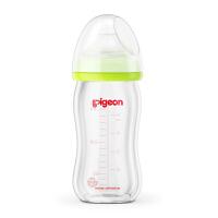 【当当自营】Pigeon贝亲 宽口径玻璃奶瓶160ml(绿色)AA72 贝亲洗护喂养用品