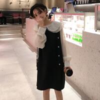 很仙的连衣裙春装女装2019新款韩版娃娃领假两件打底裙chic仙女裙