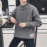 秋冬季毛衣男韩版潮流宽松半高领线衣针织打底衫加绒加厚男士外套 227深灰色