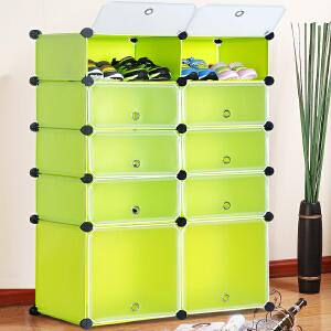 亚思特树脂防尘简易鞋柜 多功能DIY组合鞋架 塑料树脂MXJ4510