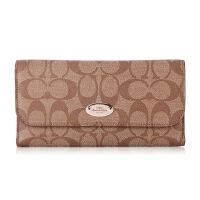 【9.9新】COACH女款浅棕色皮革长款钱包皮夹