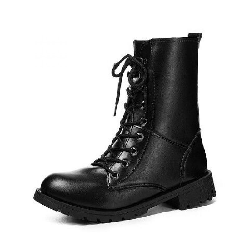 秋冬中筒马丁靴女皮面英伦风皮鞋女高帮鞋机车骑士靴韩版学生短靴