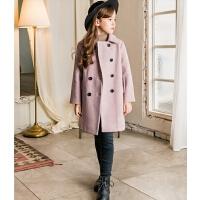 女童毛呢外套洋气双排扣中长款秋冬儿童呢子大衣