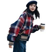 格子毛呢外套女短款秋冬2018新款韩版宽松小心机流苏长袖学生夹克 图片色