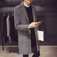 秋冬季韩版修身帅气呢子风衣男中长款青少年休闲毛呢大衣男外套潮