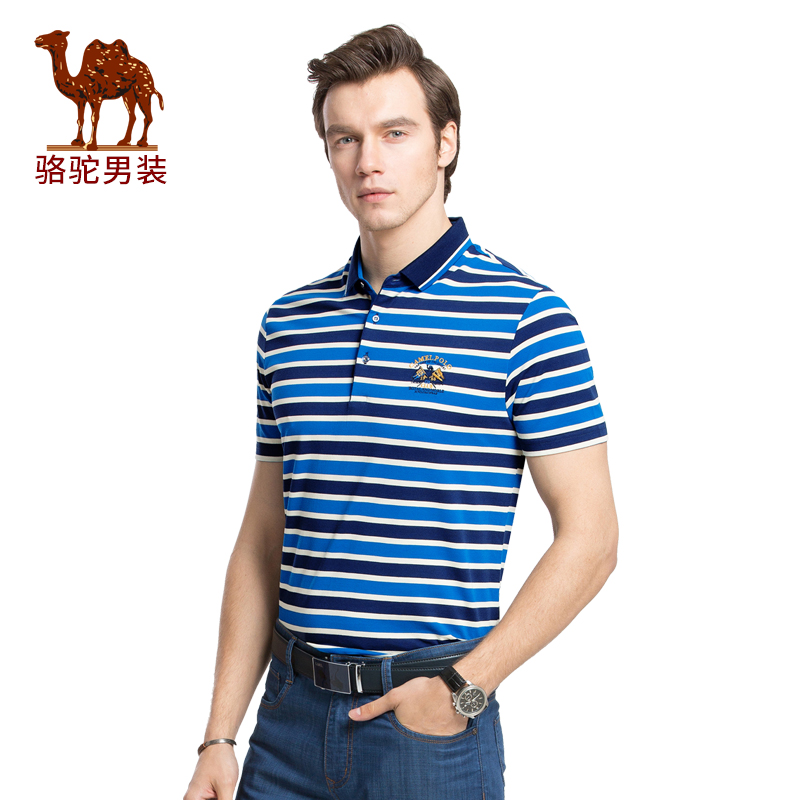 骆驼男装 夏季新款男士短袖条纹t恤青年休闲polo衫翻领商务衫