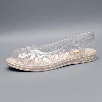 夏季凉鞋女透明平底鱼嘴包脚透明塑料女鞋镂空水晶果冻外穿凉拖鞋 透明 标准鞋码胖脚拍大