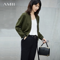 【品牌团 1件7折/2件5折】Amii[极简主义]2017秋新品时尚帅气修身显瘦棒球长外套 11761217