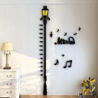 卡通路灯身高贴3D亚克力立体墙贴创意儿童房客厅玄关量身高尺墙贴