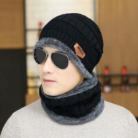 秋冬男士毛线帽子针织帽男款保暖帽护耳帽带围脖