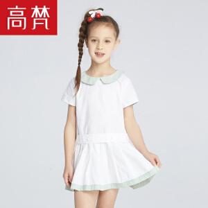 高梵2018新款儿童连衣裙 韩版撞色女童连衣裙夏纯棉女宝宝公主裙
