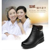 妈妈鞋棉鞋大码真皮软底鞋中年短靴加绒保暖中老年人女鞋防滑平底鞋