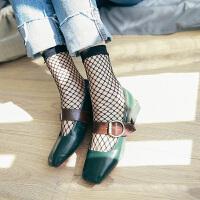 2双装渔网袜短袜夏季欧美黑色交叉网眼中筒袜子潮流短丝袜镂空袜