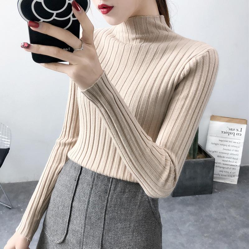 高领毛衣女冬修身学生套头2018新款百搭慵懒风针织衫长袖打底衫女