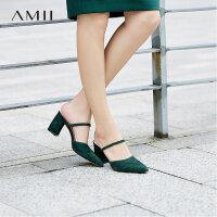 【会员节! 每满100减50】Amii极简2018春装新款优雅尖头显瘦一字带穆勒粗跟拖鞋女夏高跟鞋
