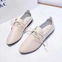 2019春秋新款复古英伦系带尖头小皮鞋女网红单鞋大码女鞋