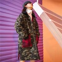 毛呢外套女中长款双面韩版秋冬季潮新款宽松学生2018流行格子大衣