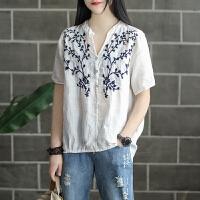 原创魅儿家新款苎麻刺绣T恤女士短袖套头衫做旧复古不规则宽松上衣夏GH067 均码