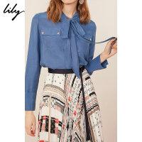 【2件4折到手价:195.6元】 Lily春新款女装商务纯色通勤直筒飘带领口袋衬衫119100C4234