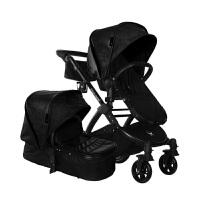 【当当自营】美国BabyRoo Letour Avant Luxe皮质系列高景观多功能轻便婴儿手推车博雅黑黑色架