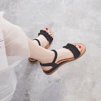 凉鞋女2019新款仙女风晚晚平底坡跟ins潮百搭一字带中跟女士凉鞋夏季百搭鞋