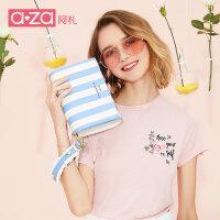 【138元2件】aza小包包2019夏季新款女包时尚条纹简约ins手拿包珍珠单肩斜挎包