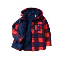 童装秋冬装男童软加绒外套儿童宝宝格子连帽绒衫