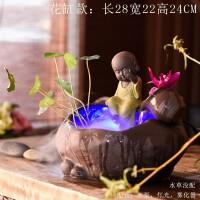 陶瓷桌面喷泉流水养鱼缸加湿器摆设家居装饰风水轮小沙弥创意摆件