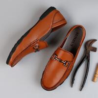 2019新款男士豆豆鞋潮英伦商务休闲皮鞋软面皮懒人鞋子男鞋夏季 38 标准皮鞋尺码