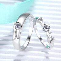 情侣戒指女925纯银饰品开口对戒男一对创意韩版刻字