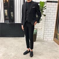休闲西装男套装修身韩版英伦风西服男职业正装新郎伴郎结婚礼服 黑色 上衣加裤子