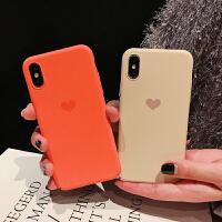 简约小爱心7/8plus苹果x/xr手机壳iphone xs max磨砂硬壳6s女 XR 全包硬壳 橙色底爱心