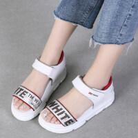 坡跟凉鞋女夏季新款韩版百搭平底鞋学生厚底中跟罗马孕妇女鞋