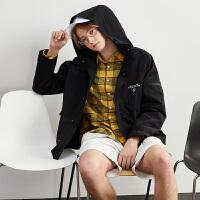 [2.5折价139元叠加200-30】唐狮男外套春秋新款韩版潮流修身帅气连帽夹克