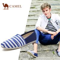 camel 骆驼男鞋 春季时尚休闲渔夫布鞋条纹帆布鞋男