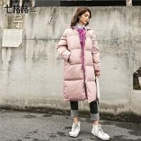 七格格羽绒服女新款白鸭绒中长款韩版宽松时尚工装外套冬季装