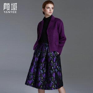 颜域品牌女装秋冬新款欧美时尚纯色西装领短款保暖双面羊毛呢外套