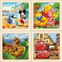 迪士尼拼图玩具 9片木制框拼标准版四合一(米奇2666+维尼2668+恐龙2672+赛车2673)
