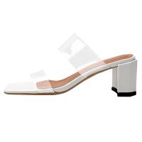 透明拖鞋女外穿2019夏季新款韩版百搭时尚网红性感高跟一字带凉拖夏季百搭鞋