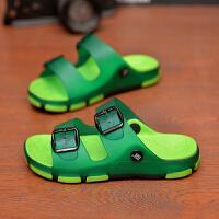 儿童拖鞋男童拖鞋夏季亲子凉鞋男大童凉拖鞋居家女童浴室内外防滑 绿色 标准码数